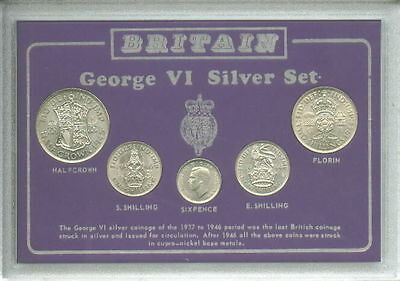 GB Great Britain British King George VI 1937-1946 Silver Coin Display Gift Set