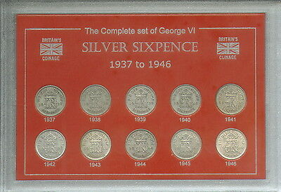 1937-1946 King George VI Silver Sixpence Sixpences GB Coin Gift Set Collection
