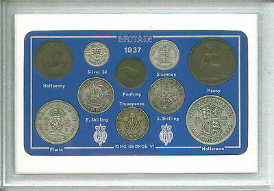 1937 GB Great Britain British Vintage Coin Set (80th Birthday Gift Birth Year)