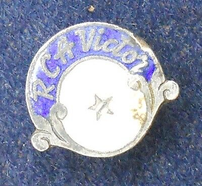 VINTAGE RCA VICTOR WHITE METAL and ENAMELS ADVERTISING RARE PIN - ONE STAR