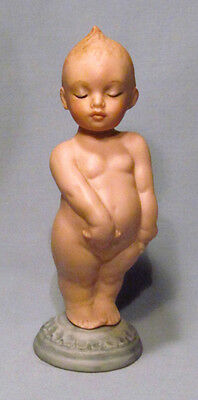 Antique Hand Painted Bisque Kewpie Cherub Putti w/ Poseable Head Doll Figurine