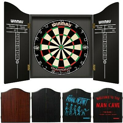 WINMAU PROFESSIONAL DART SET DIAMOND PLUS 2 x sets of Darts Black Cabinet