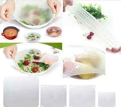 4PC Silicone Wrap Seal Cover Stretch Cling Film Kitchen Tool Food Fresh Keep AHY