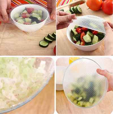 4x Kitchen Tool Reusable Silicone Food Wrap Seal Cover Stretch Cling Film  Fresh