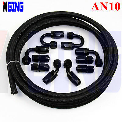 AN10 10AN AN-10 Stainless Steel Nylon Braided Oil Fuel Line Hose End Fitting Kit