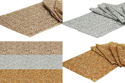 10 x SEQUIN TABLE RUNNER WEDDING PARTY BLING DECORATION GOLD SILVER & CHAMPAGNE