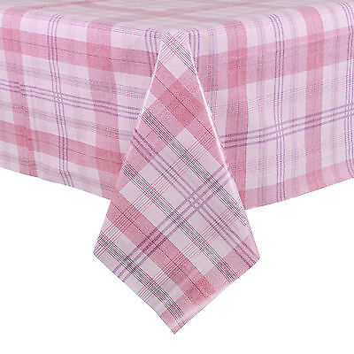 140x240cm PVC Wipe Clean Pink Plaid Design Tablecloth Table Protector Cover
