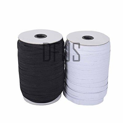 Flat corded Sewing Elastic Black White 6mm 8 cord or 9mm 16 cord