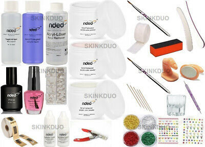 KIT DE UÑAS DE ACRILICO PLUS DE NDED + MANUAL / PORCELANA / Envio 24/48 Horas