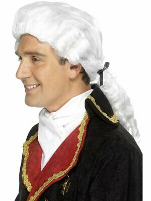 White Court Wig Black Ribbon & Ringlets Adult Mens Smiffys Fancy Dress Costume