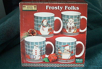 DEBBIE MUMM FROSTY FOLKS SET OF 4 SNOWMAN MUGS BY SAKURA IN BOX - UNUSED