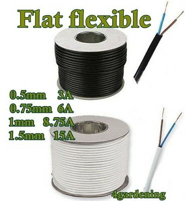 Electric Cable White Black Flat Power 2 Core Flexible 2192Y 0.5 0.75 1.00 1.5 mm