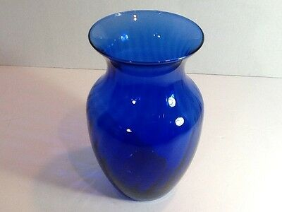 Beautiful Deep Blue Cobalt Crystal Vase With Wonderful Striations In Glass