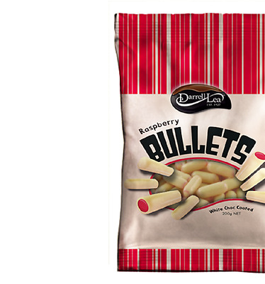 Darrell Lea White Chocolate Raspberry Bullets 200g x 16