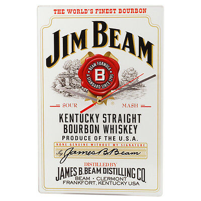 Official Licensed Jim Beam Bourbon Clock Great addition to your Man Cave