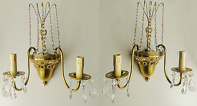 Antique French bronze and crystal pair of sconces