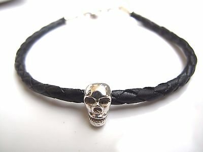 Skull Bracelet Leather  925 sterling silver punk biker leather cuff men bangle
