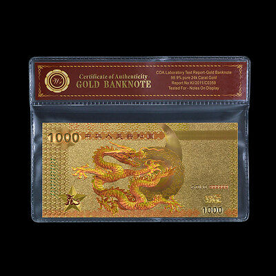 Colored Chinese Dragon Note 1000RMB 24k Gold Banknote China Art Craft Collection