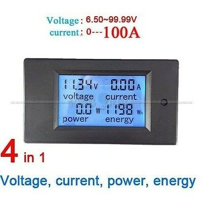 100A DC Digital Power Meter Monitor Power Energy Voltmeter Ammeter+Shunt 12V 24V