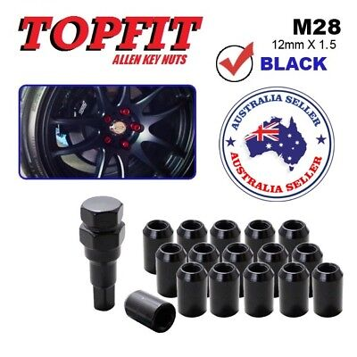 Black 12mm x 1.5 16pcs Racing Wheel Lug Nut Lock Kit with Key Tool