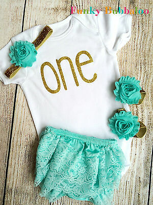First Birthday Baby Outfit Bodysuit Headband Bloomers Photo Shoot Cake Smash 1st
