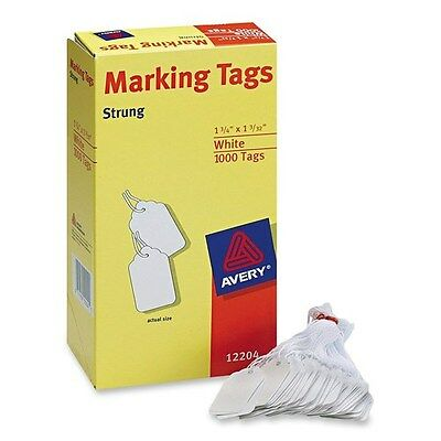 """Avery White Marking Sale Tags Strung 1.75"""" x 1.093"""" Pack of 1000 Merchandise"""