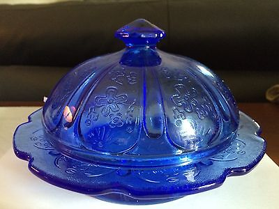 Large Cobalt Blue Round Butter Dish or Cheese Dish or Dessert Cake Glass Display