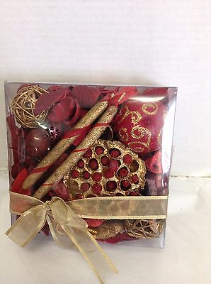 Decorative Christmas Holiday Potpourri CINNAMON STICKS Red Gold Unscented