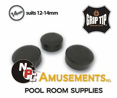No Chalk Needed POOL SNOOKER BILLIARD Cue Tip 1x NEW Glue on type 14mm Grip Tip