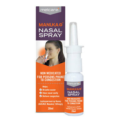 Melcare Manuka Nasal Spray 20Ml Blocked Runny Nose Nasal Congestion Relief