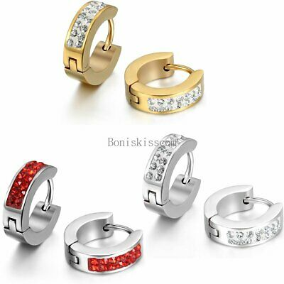 Men's Women's Unisex Stainless Steel Rhinestone Charm Hoop Huggie Earrings 2PCS