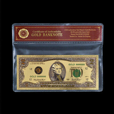 Colored US $2 Two Dollars 24k Gold Plated Banknote Free Certificate Uncirculated