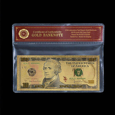Colorful US Dollar Note $10 Ten Dollars 24k Gold Foil Banknote With Certificate