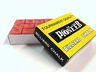 Pool Snooker Billiard Cue Tip Table Chalk *RED* 1 BOX 12 Blocks in the Box