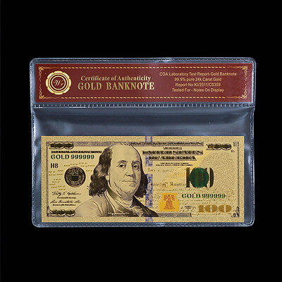 New U.S Note $100 One Hundred Dollars Colorful 24k Gold Banknote With COA Sleeve