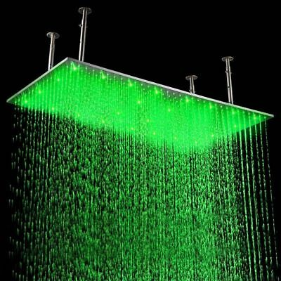 "Waterfall 20""x40"" LED Stainless Steel Rectangle Shower Head in Brushed Nickel"