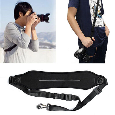 Quick Rapid Shoulder Neck Sling Belt Camera Strap For Nikon Canon SLR DSLR Black