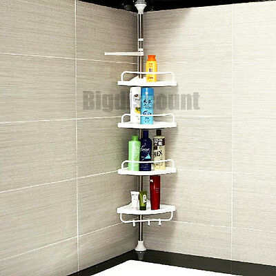 Bathroom Rack 4 Shower Shelves Stainless Steel Pole Adjustable Hooks Storage
