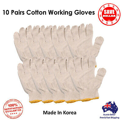 10Pairs Working Safety Gloves Cotton Heavy Duty Knitted Purpose Gardening Handy