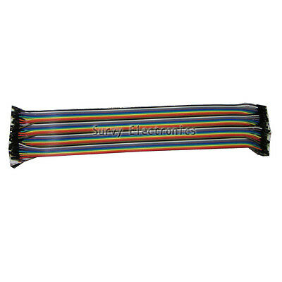 40pcs Dupont Wire Color Jumper Cable 2.54mm 1P-1P Female-Female For Arduino 30cm