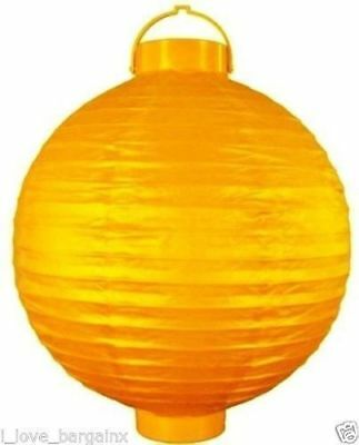 12 X Yellow Battery Operated Paper Wedding Party Home Lantern Decoration 20CM