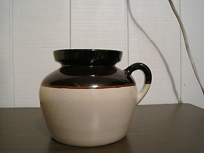 Vintage Usa Cream And Brown One Handle Bean Pot