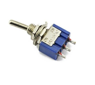 10Pcs AC 125V 6A SPDT 3 Pin On/On 2 Position Miniature Toggle Switch Blue