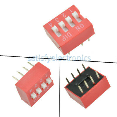 100Pcs Slide Type Switch Module 2.54mm 4-Bit 4 Position Way DIP Red Pitch NEW Z