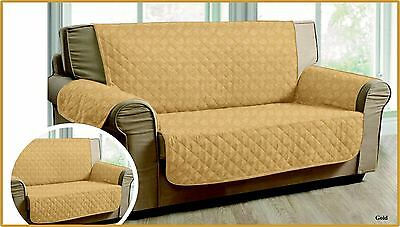 GOLD QUILTED Jacquard Slip Sofa Settee Cover Throw Pet Protector 1,2,3 Seater