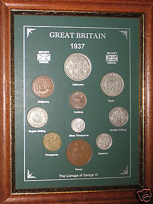 FRAMED 1937 GB GREAT BRITISH COIN YEAR SET (VINTAGE 80th BIRTHDAY PRESENT GIFT)