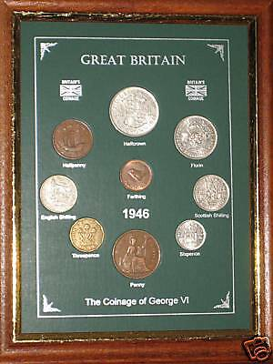 FRAMED 1946 COIN YEAR SET (RETRO 71st BIRTHDAY PRESENT WEDDING ANNIVERSARY GIFT)