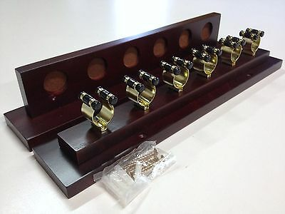 QUALITY DELUXE Timber POOL SNOOKER BILLIARD CUE RACK Mahogany and Brass Cue Clip