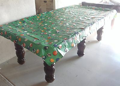 Pool Snooker Billiard Table Cover for 8' table (8 Ball Print Green Design Vinyl)