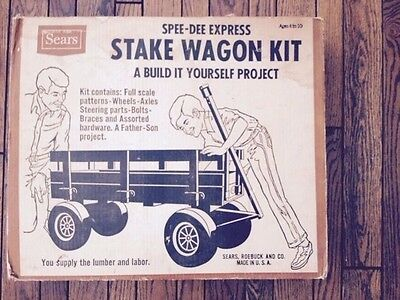 """Vintage Sears Stake Wagon Kit Wheels Spee Dee Express """"Build it Yourself"""" parts"""